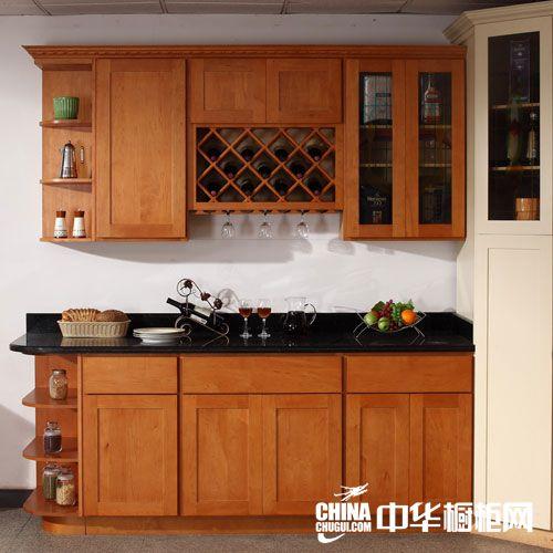 供应赫思缇橱柜-整体橱柜-加拿大枫木一字型实木橱柜
