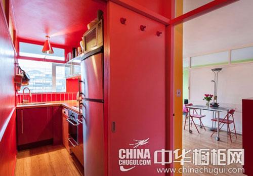 紅色廚房裝修效果圖