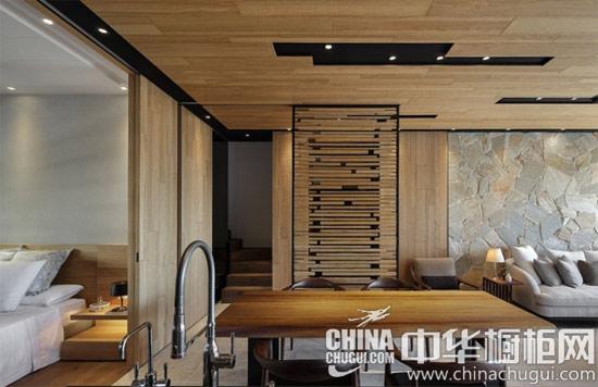 做旧原木橱柜渲染心灵之家