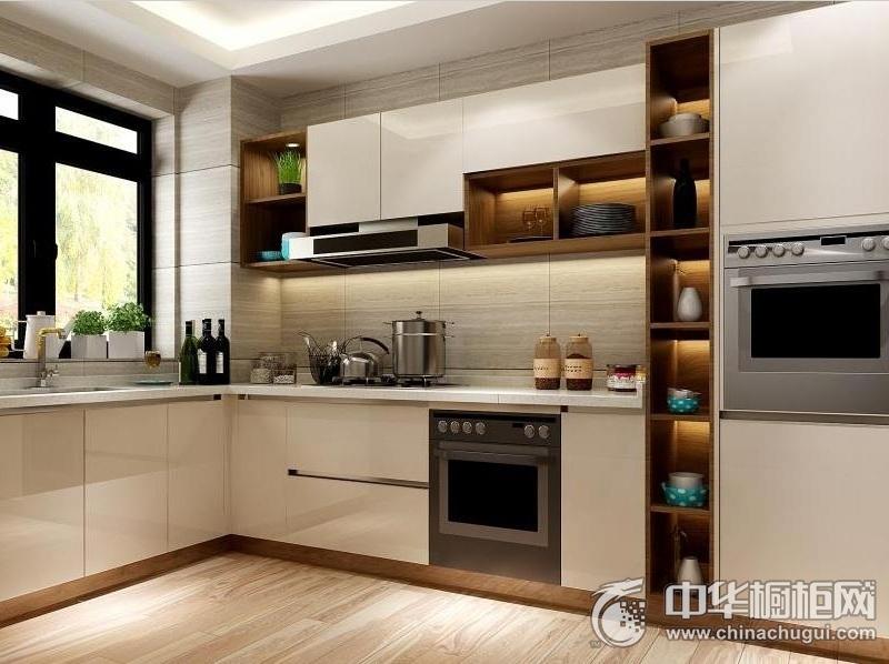 现代简约风格橱柜图片 白色系厨房装修效果图