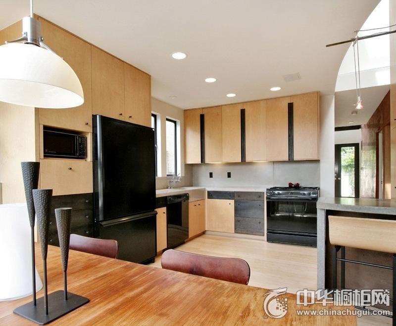 别墅厨房实木橱柜装修效果图 大户型整体橱柜效果图