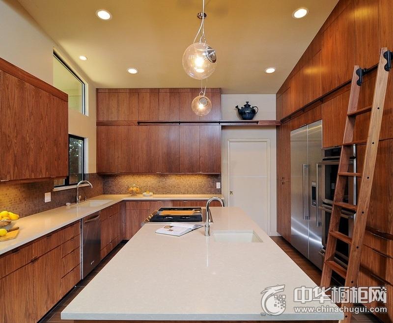 混搭新潮厨房原木色橱柜装修效果图 岛型整体橱柜效果图