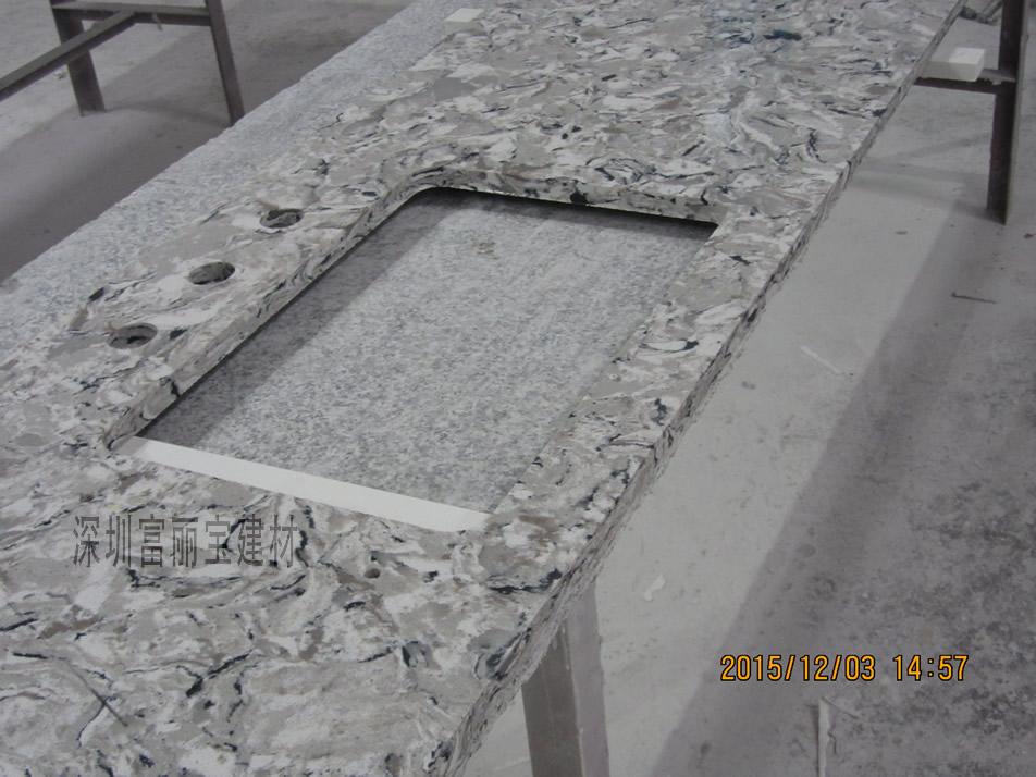 富丽宝建材-深圳人造石加工厂家直供石英石花纹台面板